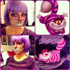 Alice in Wonderland - Chesire Cat api costume eye makeup Cat ~ This would be a… Halloween 2014, Halloween Cosplay, Holidays Halloween, Halloween Make Up, Halloween Party, Cheshire Cat Costume, Cheshire Cat Makeup, Chesire Cat, Cat Costumes