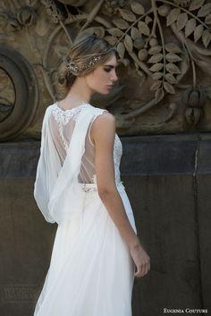 eugenia couture bridal spring 2016 campaign harmony sleeveless wedding dress draped back illusion