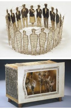 """Lisa Kokin artist book. """"trophy"""" composed of sewn found photographs & found text.  above bottom: """"la caridad"""" composed of sewn found photographs, feathers, toothpicks, cardboard & book page."""