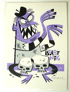 Derek Yaniger Beastnik Silkscreen Print Signed Art Retro Skull Bongos | eBay
