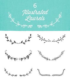 BLOG & Website Resources ~~ A vector set of 6 illustrated laurels that are great as website and print accents.