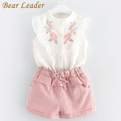Bear Leader Girls Clothing Sets 2018 New Summer Girls Clothes Sleeveless T-shirt+Shorts Kids Clothing Sets For Years Price: USD Little Girl Outfits, Kids Outfits, Summer Outfits, Little Girl Clothing, Vest Outfits, Short Outfits, Western Outfits, Baby Girl Fashion, Kids Fashion