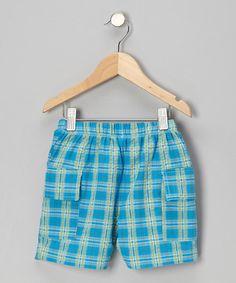 Turquoise & Lime Plaid Cargo Shorts - Toddler & Boys