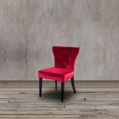 Red Plum Rich Velvet Accent Dining Side Chair Tufted Tufted Wood Modern Seat #Contemporary