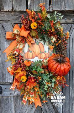 Fall Wreath, Fall Decor, Autumn Decor, Autumn Wreath, Thanksgiving Wreath - New Deko Sites Thanksgiving Wreaths, Autumn Wreaths, Thanksgiving Decorations, Holiday Wreaths, Wreath Fall, Halloween Decorations, Thanksgiving Sayings, Halloween Wreaths, Fall Decorations