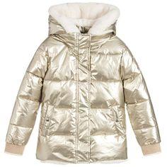 e59846d41588 Girls Gold Puffer Coat for Girl by IKKS. Discover more beautiful designer  Coats  amp  · Designer CoatsSnow SuitKids OnlineDown CoatPuffer JacketsBaby  ...