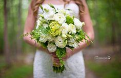 white hydrangea, green hydrangea, lisianthus, ranunculus and maiden hair fern