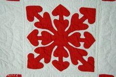 AMAZING-Vintage-1880s-Turkey-Red-amp-White-Hearts-Cutout-Applique-Antique-Quilt