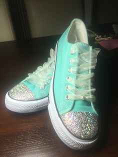 17c1277182299 Converse Crystal Swarovski shoes mint