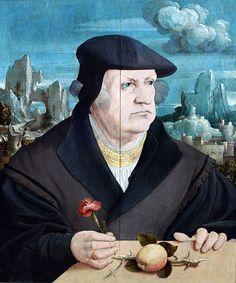Bildnis eines Mannes mit Nelke vor einer Landschaft, 1525, Staedel
