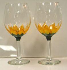 Matching Sunflower Wine Glasses [Wine_Glasses_Sunflower] - $15.00 ...