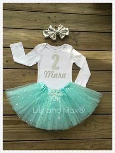 Frozen birthday Outfit, Aqua blue sparkle tutu, Elsa sparkly silver glitter number tutu set, silver metallic messy bow headband