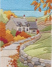 Autumn Cottage Long Stitch Kit (needlepoint)From Derwentwater Designs Crewel Embroidery, Ribbon Embroidery, Cross Stitch Embroidery, Embroidery Patterns, Stitch Patterns, Bargello Needlepoint, Needlepoint Stitches, Needlework, Plastic Canvas Crafts