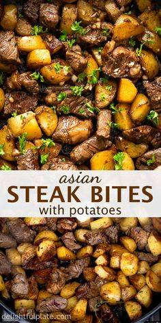 beef recipes This Asian Steak Bites and Potatoes features seared beef cubes and potatoes in a garlicky butter and soy-based sauce. It comes together in under 30 minutes and everything is cooked in just one pan. Such a quick and easy weeknight dinner. Beef Recipes For Dinner, Cubed Beef Recipes, Healthy Beef Recipes, Dinner Ideas With Beef, Dinner Ideas For Family, Healthy Recipes For Dinner, Quick Meals For Dinner, Yummy Dinner Recipes, Easy Meals For Dinner