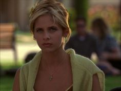 When Buffy wore a cardigan around her neck and a butterfly clip in her hair