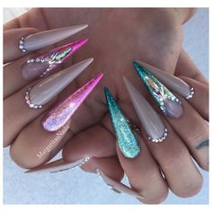 Aqua Pink Ombré Bling Stilettos by MargaritasNailz from Nail Art Gallery
