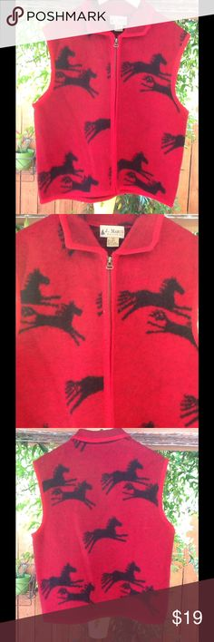 Beautiful Fleece Red and Black Sweater Vest Light weight red and black sweater vest. Perfect for the Fall/Winter weather. Great for camping and the snow! Material: 100% Suede J. Marco Galleries Jackets & Coats Vests