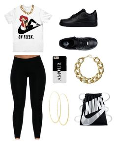 """black 😎😋"" by luh-foreign ❤ liked on Polyvore featuring NIKE, Kenneth Jay Lane and Lana"