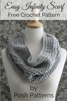 Easy Crochet Patterns Free crochet pattern -- an easy infinity scarf that can be perfect for any season! By Posh Patterns. - This easy crochet cowl pattern makes the perfect accessory for any time of year! It's simple and elegant and goes with any outfit. Crochet Shawl Free, Crochet Gloves, Crochet Scarves, Easy Crochet, Crochet Cowls, Crochet Granny, Double Crochet, Crochet Things, Knitting Patterns