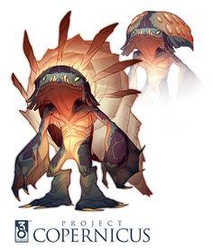 project copernicus art by Nikolas Kole Cute Creatures, Mythical Creatures, Alien Creatures, Creature Concept Art, Creature Design, Fantasy Kunst, Fantasy Art, Character Concept, Character Art