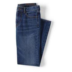 Lands' End Men's Regular Fit Jeans ($59) ❤ liked on Polyvore featuring men's fashion, men's clothing, men's jeans, bottoms, men, menswear, pants, denim, mens distressed denim jeans and mens faded jeans