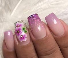 New Nails Stiletto Flowers Ideas Flower Nail Designs, Diy Nail Designs, Flower Nail Art, Acrylic Nail Designs, Nail Flowers, One Stroke Nails, My Nails, Spring Nails, Summer Nails