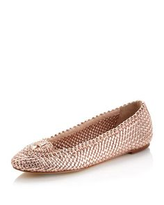 Emilie Woven Flat, Rose Golden by Joan and David at Last Call by Neiman Marcus.