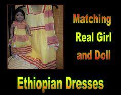 Ethiopian SemiFormal Matching Real Girl and Doll by CCIWorld, $65.00   #Ethiopia #doll #adoption #internationaladoption #dollclothes #orphans #ethiopiandresses