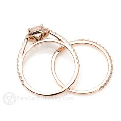 Morganite Engagement Ring Diamond Halo Wedding Ring by RareEarth