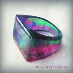 Bonbon Resin Ring Multicolor  Green Magenta Purple Blue Orange Sarva - Mangala Jewelry US Size 9 1/2