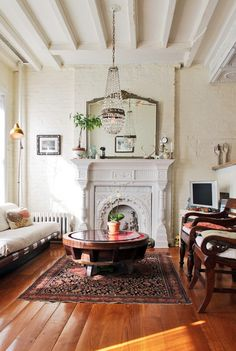 I Am In Love With This Room The Ceilings Chandelier Fireplace And Rug