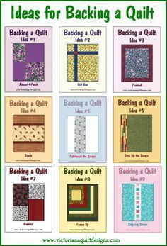 My collection of Ideas for Backing a Quilt is available in a .pdf file format. Request your file here: http://victorianaquiltdesigns.com/VictorianaQuilters/Library/UsefulInfo/VQDInspiration/QuiltBackingIdeas.htm
