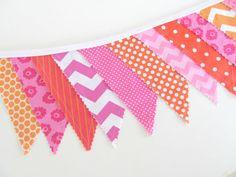 Hop Pink Orange Sherbet Fabric Bunting Girl's by OvationStudio, $28.00