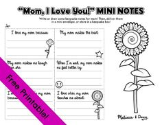 Free printables from Melissa and Doug.  I love the mini notes and envelopes for mom with sentence starters.  My mom makes the best... When I'm sad, my mom makes me feel better by... I love when my mom teaches me about... My mom makes me laugh when she... I'm so happy she's my mom because...