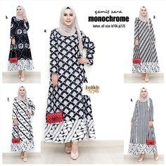 N28 @160rb Batik Fashion, Abaya Fashion, Muslim Fashion, Modest Fashion, Fashion Dresses, Muslim Dress, Hijab Dress, Hijab Outfit, I Dress