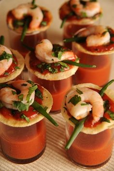One-Bite Shrimp Cocktails with Zesty Vegetable Juice Shot. I like this idea with a bloody mary shot for a brunch party. Shot Recipes, Great Recipes, Favorite Recipes, Cocktail Shots, Cocktail Recipes, Seafood Cocktail, Cocktail Sauce, Shrimp Appetizers, Appetizer Recipes