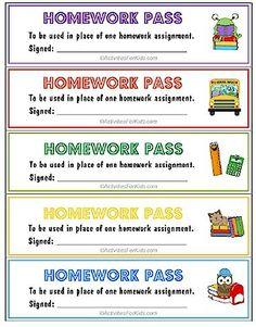 1000+ images about homework passes on Pinterest | Homework ...