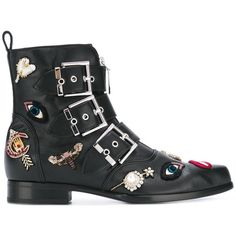 Alexander McQueen embellished biker boots ($1,677) ❤ liked on Polyvore featuring shoes, boots, alexander mcqueen, footwear, black, leather boots, black biker boots, leather motorcycle boots, moto boots and engineer boots