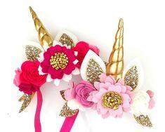 Venice (hot pink) or Pink Fleur ( pink)- Unicorn horn flower crown headband Unicorn Horn Headband