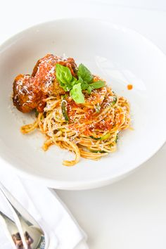 Turkey meatballs with Zoodles and Noodles http://msbelly.com/turkey-meatballs-zoodles-noodles/