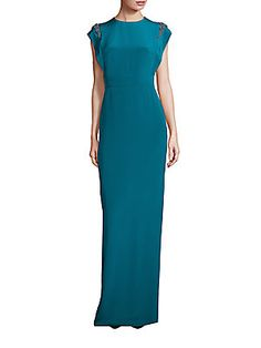 Theia Cap Sleeve Beaded Shoulder Gown - Lagoon Blue - Size