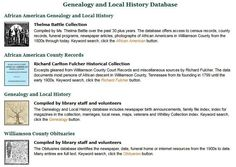 Genealogy and Local History databases produced by the Special Collections Department at Williamson County Public Library in Franklin, TN