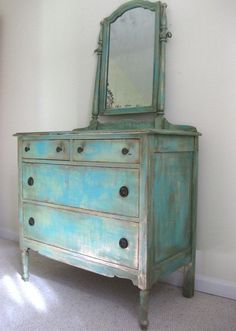 Painted ANTIQUE French Country Cottage Chic Shabby Distressed Aqua / Turquoise Dresser and Mirror