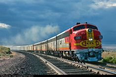 """aryburn-kc: """" ATSF's Train No. eastbound San Francisco Chief is nearing Dalies, N., and instead of turning north to Albuquerque and the Raton Pass line as most passenger trains traversed, it will. Train Art, By Train, Train Tracks, Gi Joe, Escala Ho, Bnsf Railway, Tramway, Railroad Pictures, Railroad Photography"""