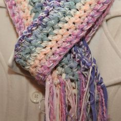 Crocheted Scarf in Pastels Chunky Handmade Free by FruitOfMyHands, $19.75