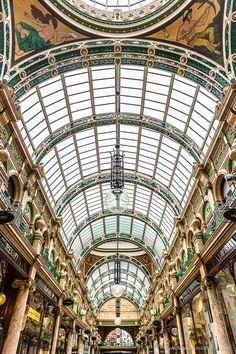 Beautiful ceiling of the Victorian era County Arcade in Leeds, Yorkshire, England   #leeds #yorkshire #england #uk #shopping #architecture #victorian