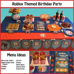 Great ideas for a Roblox themed party! All party supplies and favors available on Etsy: https://www.etsy.com/listing/464262990/roblox-themed-party-supplies