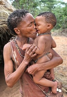 Grandmother's love . Bushmen . Namibia