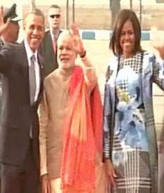 भारत पहुंचे बराक ओबामा, पीएम मोदी ने किया रिसीव   UMH NEWS INDIA