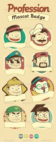 Profession Badge & Mascots #GraphicRiver Stylish vintage badge and mascot of professions with empty band under. Check my portfolio for other profession image. All items are on separated layers and neatly named. Hi-res PSD file is included in the download package. Font used in preview is Postface and not included in the download package. Created: 11September12 GraphicsFilesIncluded: PhotoshopPSD Layered: Yes MinimumAdobeCSVersion: CS3 Tags: actor #army #art #avatar #background #badge #cartoon…